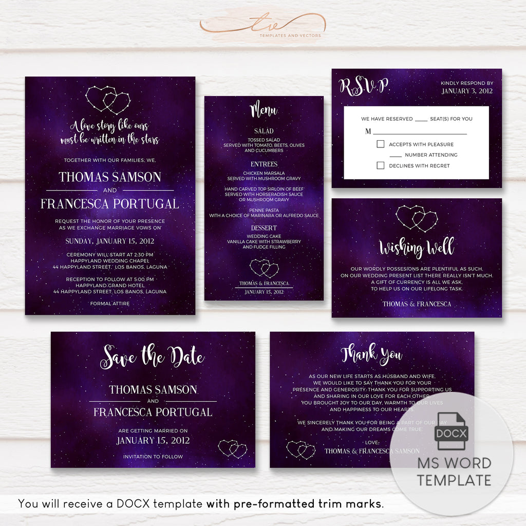TVW157 Celestial Galaxy Constellation Wedding Suite Template