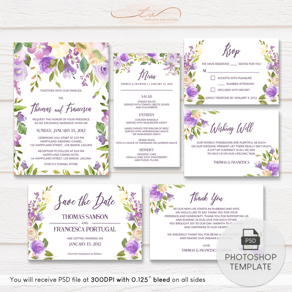 TVW160 Lilac and Peach Watercolor Floral Wedding Suite Template