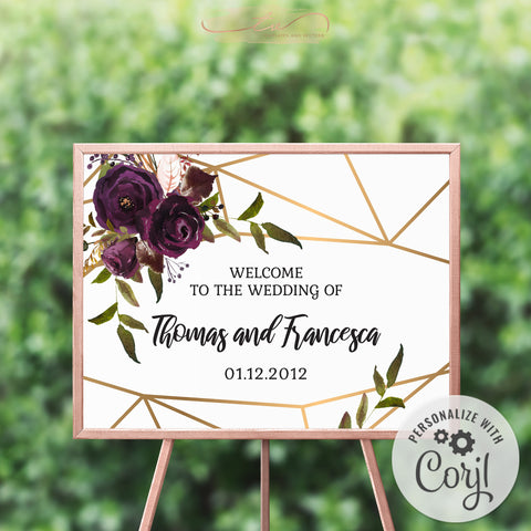 TVW161 Plum Floral Watercolor Geometric Welcome Sign - Landscape 24x18 (Edit Yourself at Corjl)