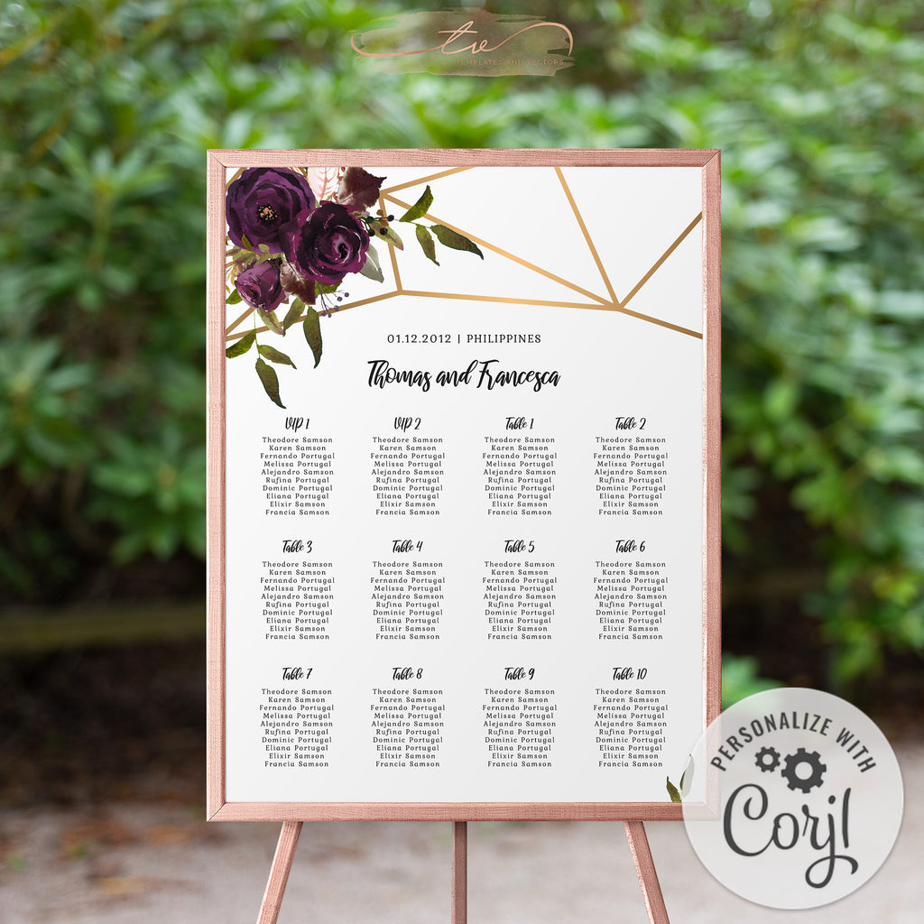 TVW161 Plum Floral Watercolor Geometric Seating Chart - Portrait 18x24 (Edit Yourself at Corjl)