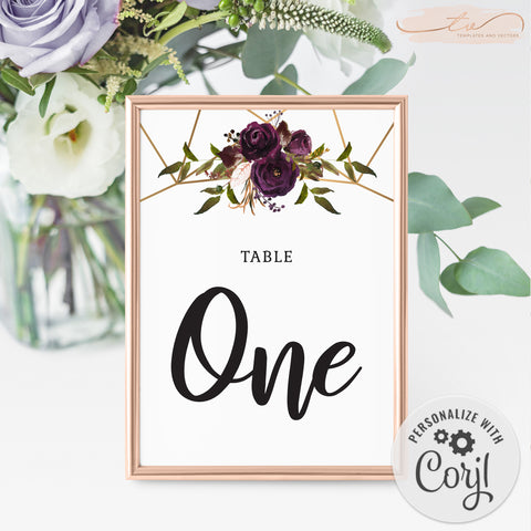 TVW161 Plum Floral Watercolor Geometric Table Number - Portrait (Edit Yourself at Corjl)