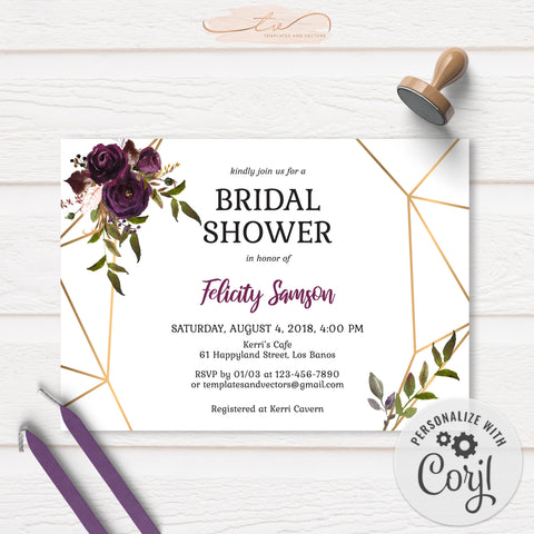 TVW161 Plum Floral Watercolor Geometric Bridal Shower Invitation - Landscape (Edit Yourself at Corjl)