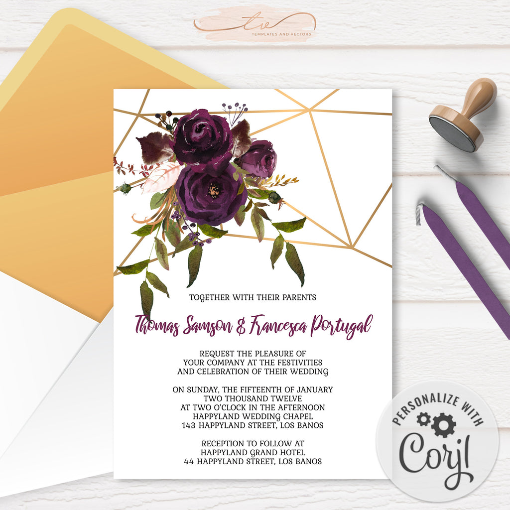 TVW161 Plum Floral Watercolor Geometric Invitation - Portrait (Edit Yourself at Corjl)