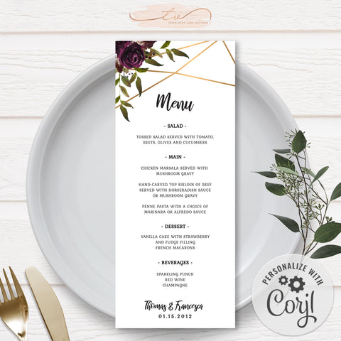 TVW161 Plum Floral Watercolor Geometric Menu - Portrait (Edit Yourself at Corjl)