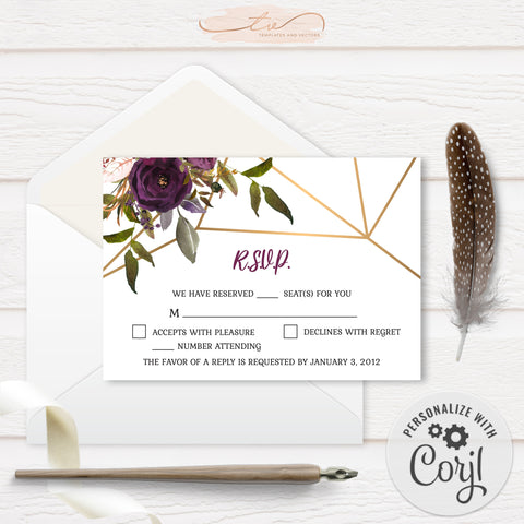 TVW161 Plum Floral Watercolor Geometric RSVP - Landscape (Edit Yourself at Corjl)