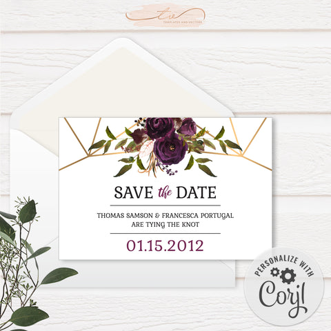 TVW161 Plum Floral Watercolor Geometric Save-the-Date - Landscape (Edit Yourself at Corjl)