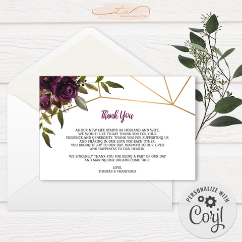 TVW161 Plum Floral Watercolor Geometric Thank You - Landscape (Edit Yourself at Corjl)