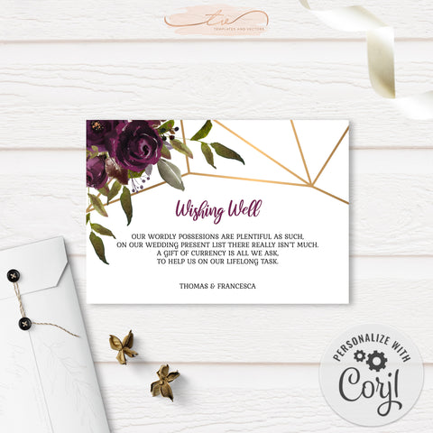 TVW161 Plum Floral Watercolor Geometric Gift Request - Landscape (Edit Yourself at Corjl)