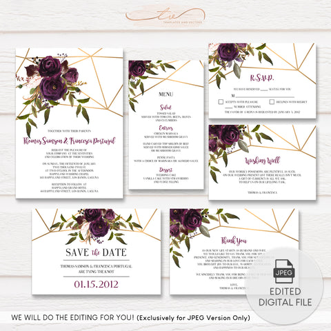 TVW161 Plum Watercolor Floral with Gold Geometric Pattern Wedding Suite Template