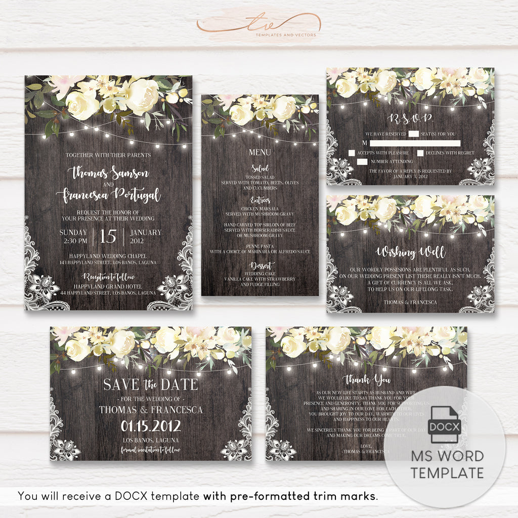 TVW162 Rustic Country Chic Floral String Lights Wedding Suite Template