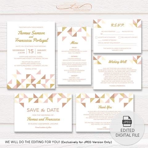 TVW163 Geometric Gold and Blush Pink Wedding Suite Template