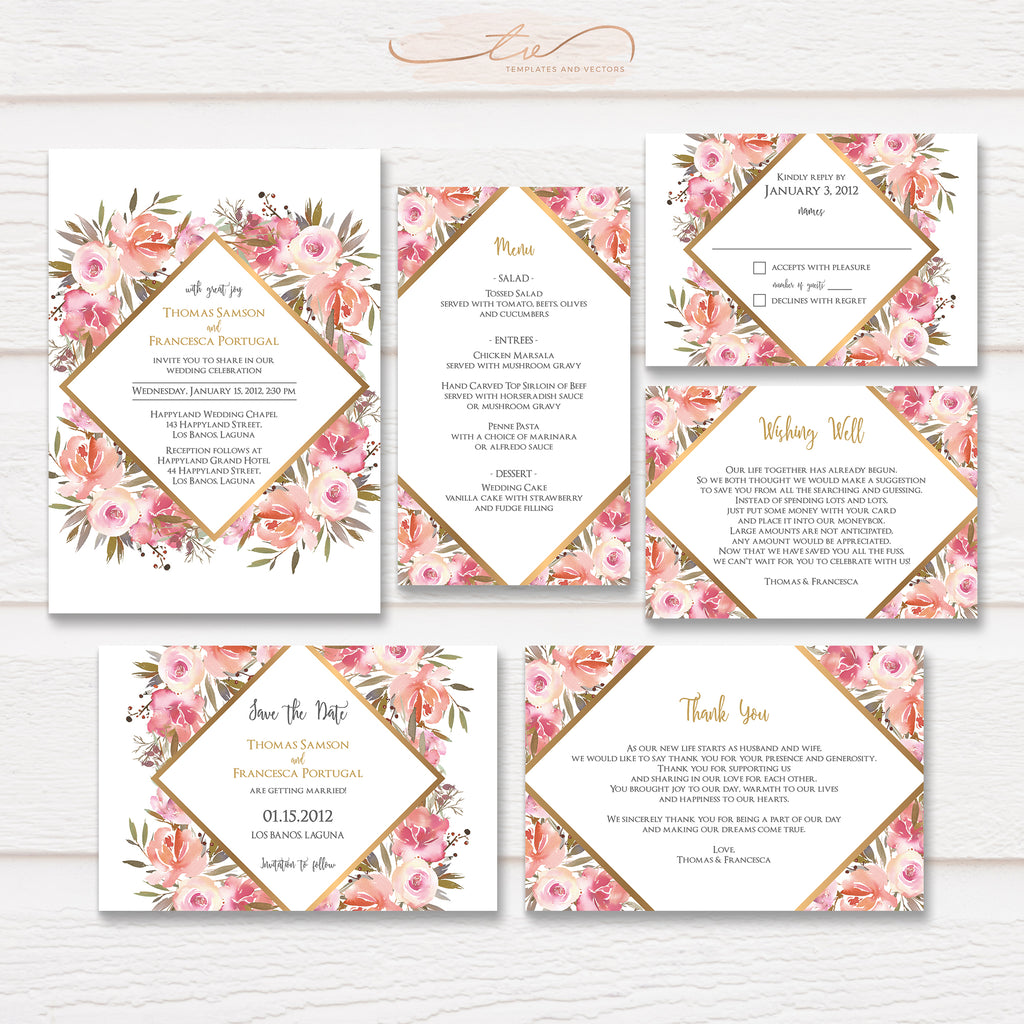 TVW164 Geometric Watercolor Floral Wedding Suite Template
