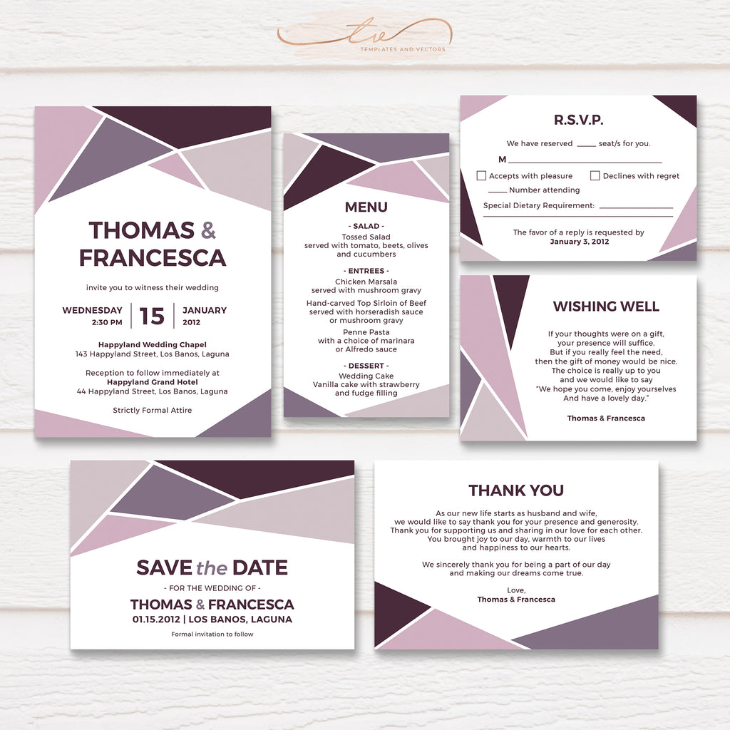 TVW165 Muted Purple Fall Geometric Wedding Suite Template