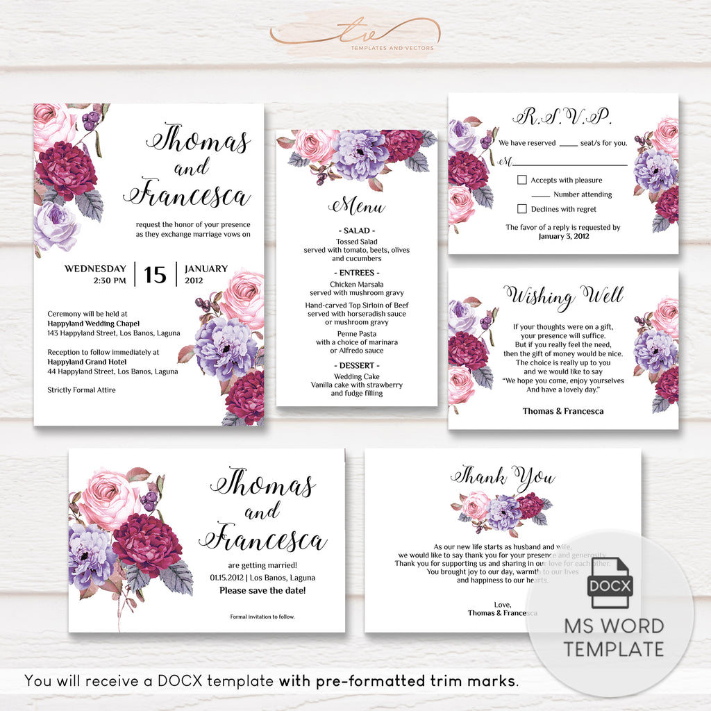TVW166 Purple and Berry Floral Wedding Suite Template