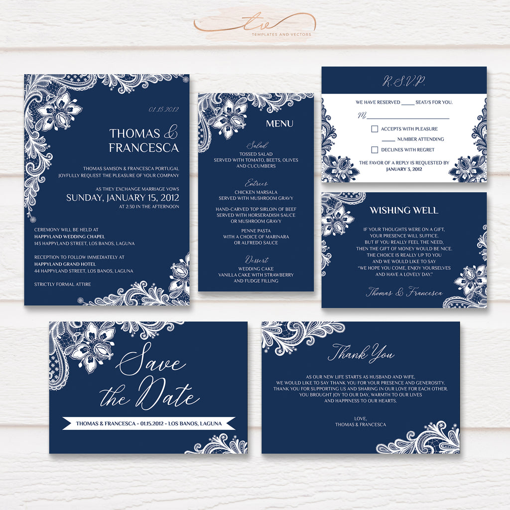 TVW167 Navy Blue Ornate Lace Wedding Suite Template