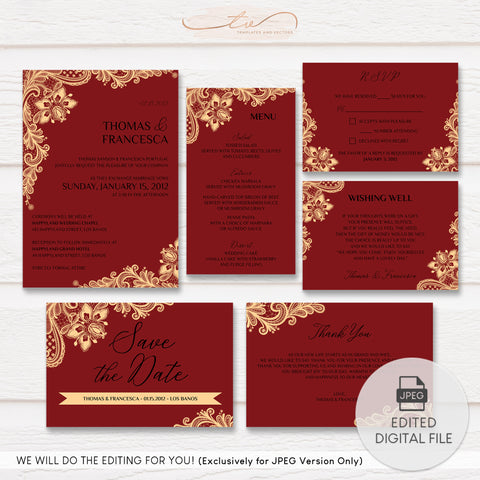 TVW167 Red and Champagne Gold Ornate Lace Wedding Suite Template