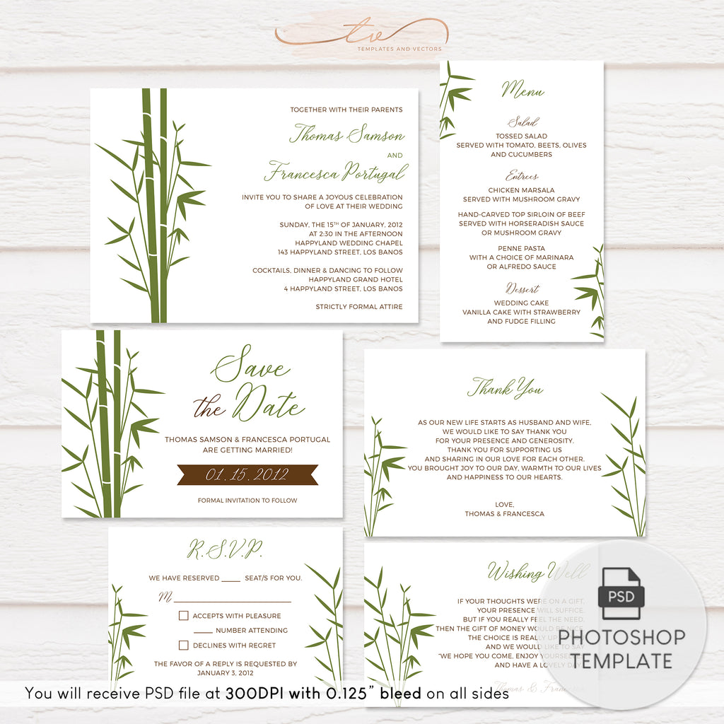 TVW168 Japanese Bamboo Wedding Suite Template