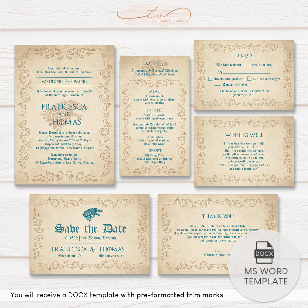 TVW170 Wedding is Coming Game of Thrones Wedding Suite Template