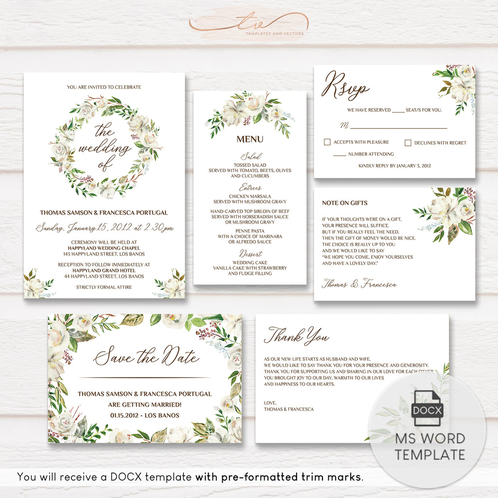 TVW176 Rustic Elegance Wedding Suite Template