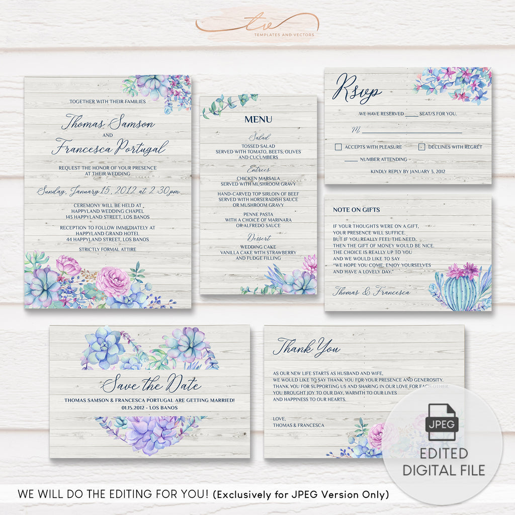 TVW177 Splendid Succulents Wedding Suite Template