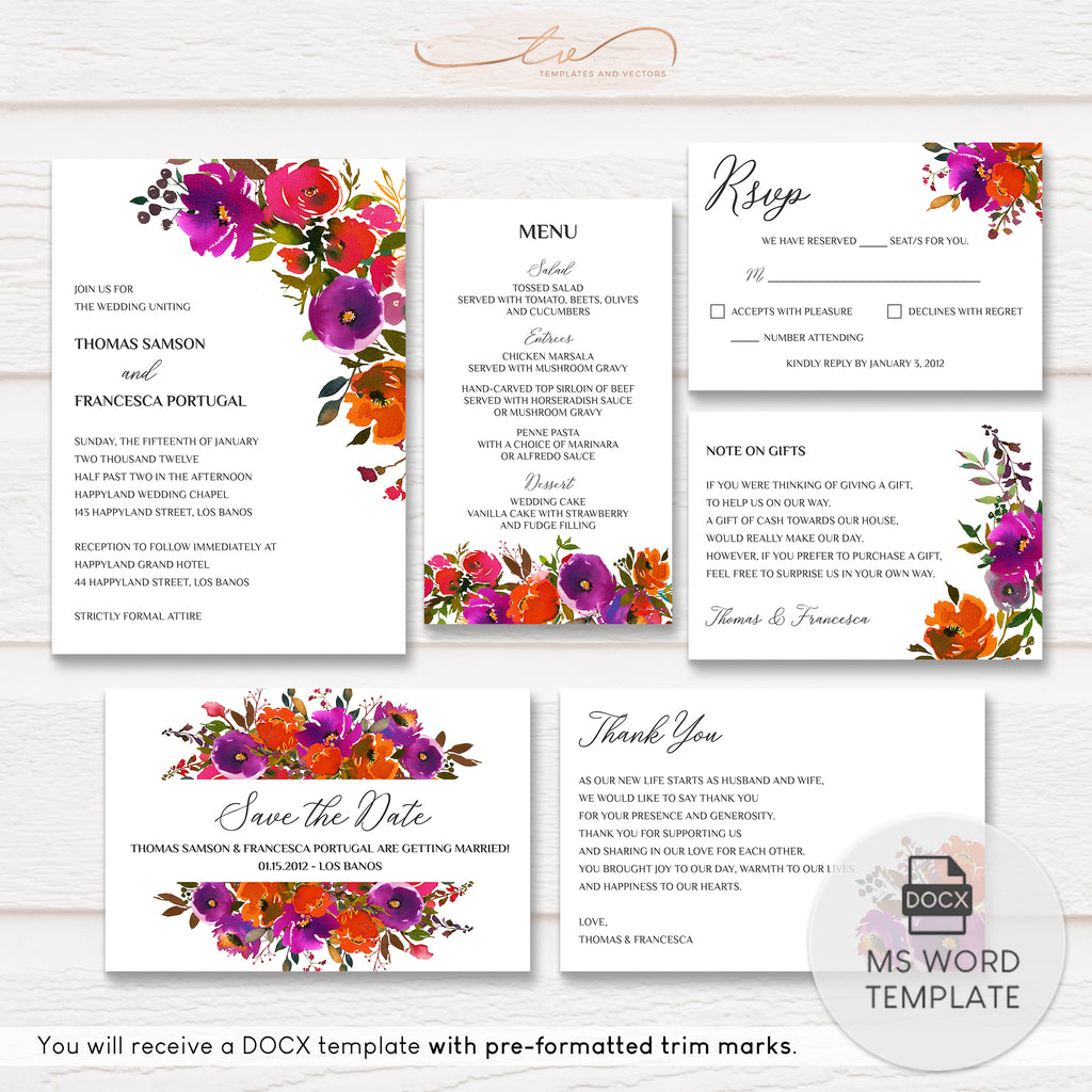 TVW178 Technicolor Floral Wedding Suite Template