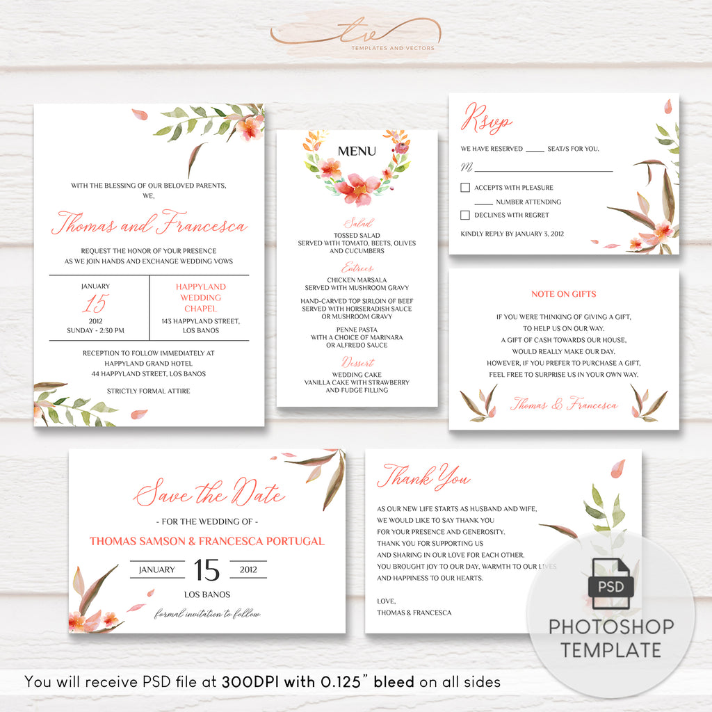 TVW180 Peach Floral Watercolor Wedding Suite Template