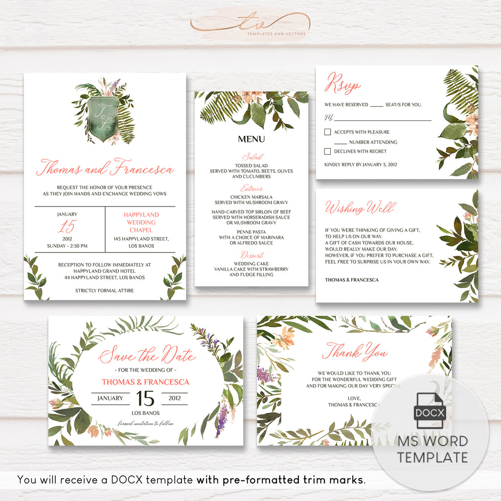 TVW181 Forest Leaves Watercolor Wedding Suite Template