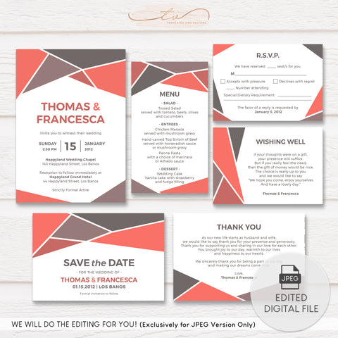 TVW182 Coral and Gray Geometric Wedding Suite Template