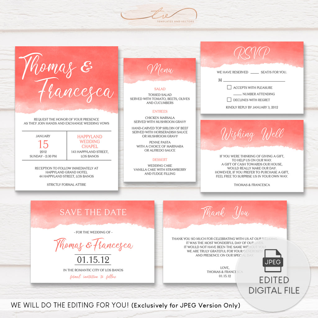 TVW183 Living Coral Watercolor Wedding Suite Template