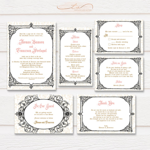 TVW184 Be Our Guest Royal Wedding Suite Template (Black Border)