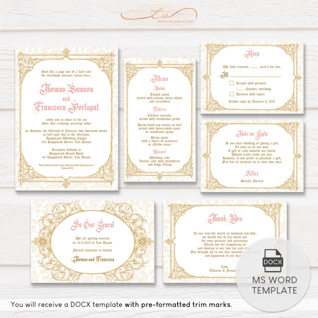 TVW184 Be Our Guest Royal Wedding Suite Template