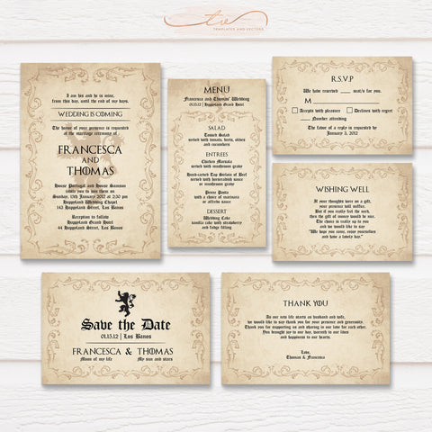 TVW185 Wedding is Coming Game of Thrones Lion Wedding Suite Template