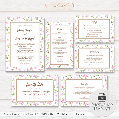 TVW186 Cherry Blossoms Watercolor Wedding Suite Template