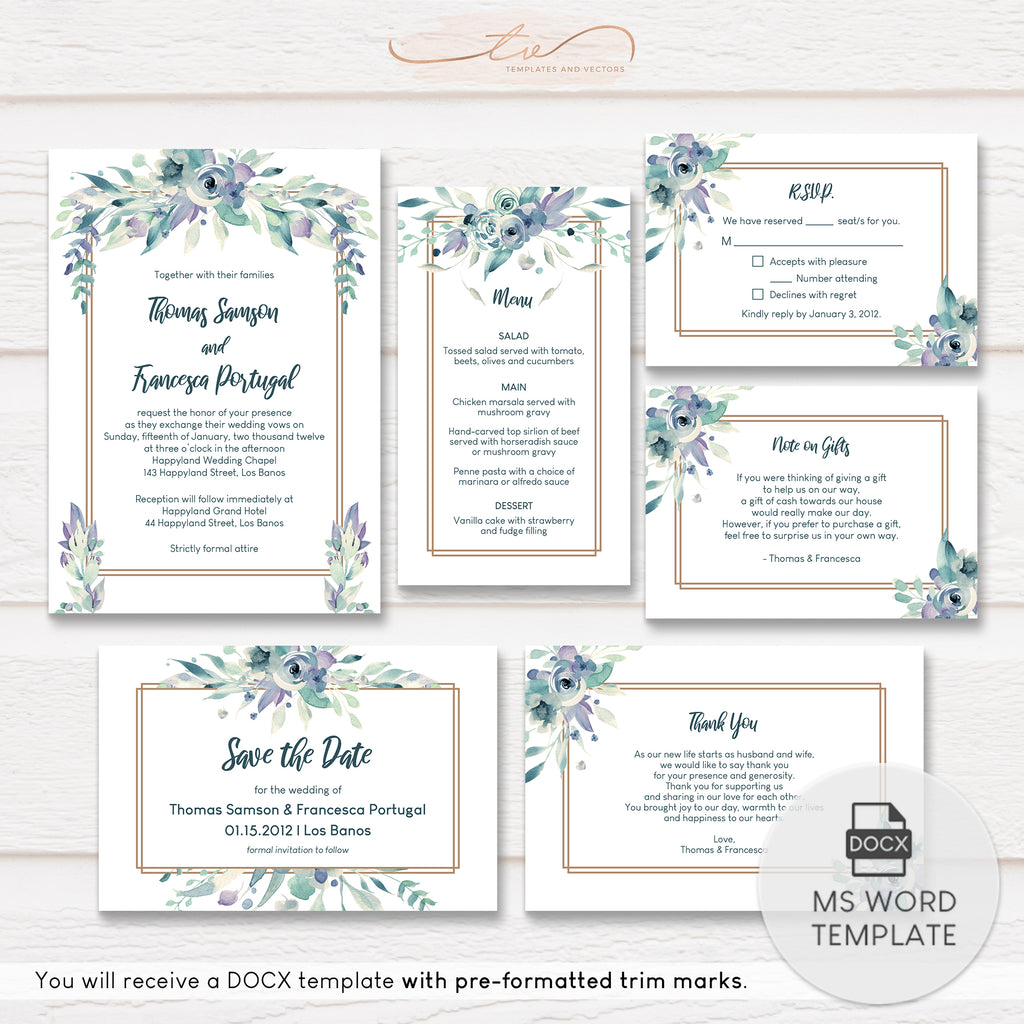 TVW187 Soft Summer Watercolor Floral Wedding Suite Template