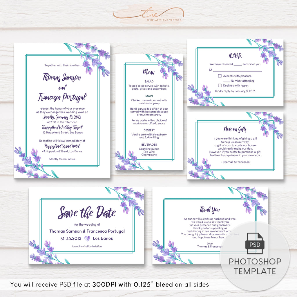 TVW188 Lavender Watercolor Floral Wedding Suite Template