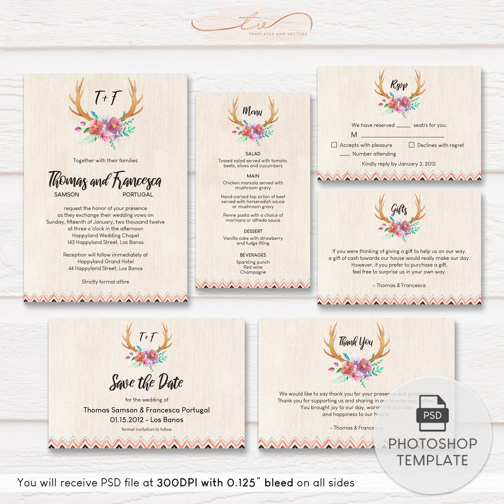 TVW189 Rustic Floral Antler Wedding Suite Template