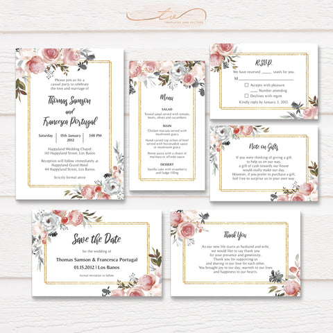 TVW192G Rose and Thistle Watercolor Floral Wedding Suite Template (Gold Accent)
