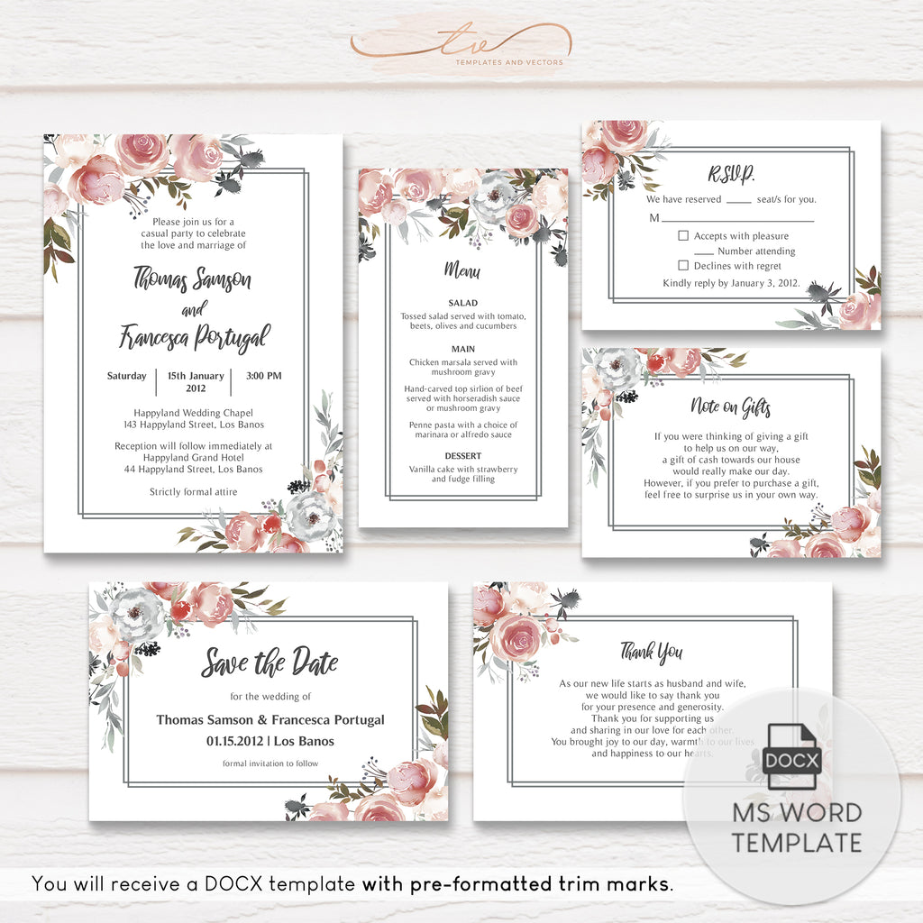 TVW192 Rose and Thistle Watercolor Wedding Suite Template