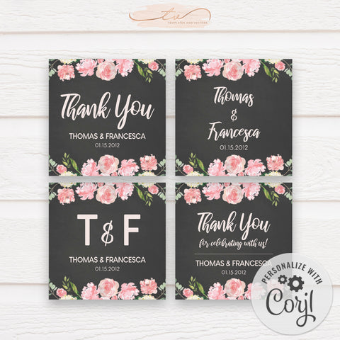 TVW193 Lovers in Paris Wedding Favor Tags / Stickers (Edit Yourself at Corjl)