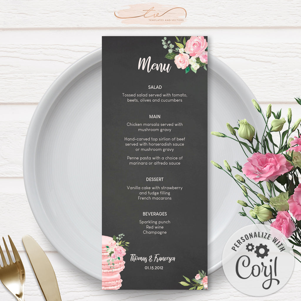 TVW193 Lovers in Paris Wedding Menu (Edit Yourself at Corjl)