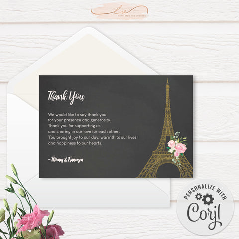 TVW193 Lovers in Paris Wedding Thank You (Edit Yourself at Corjl)