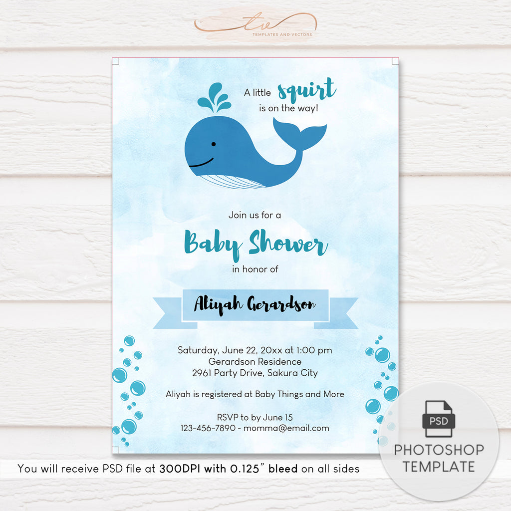 TVY195 A Little Squirt Whale Baby Shower Invitation Template