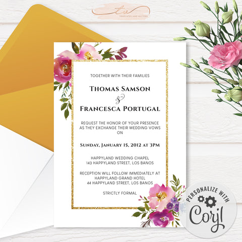 TVW199 Spring Lush Floral Wedding Invitation (Edit Yourself at Corjl)
