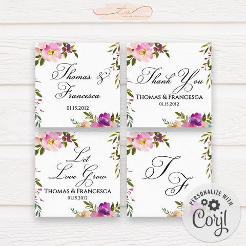 TVW199 Spring Lush Floral Wedding Favor Tags / Stickers (Edit Yourself at Corjl)