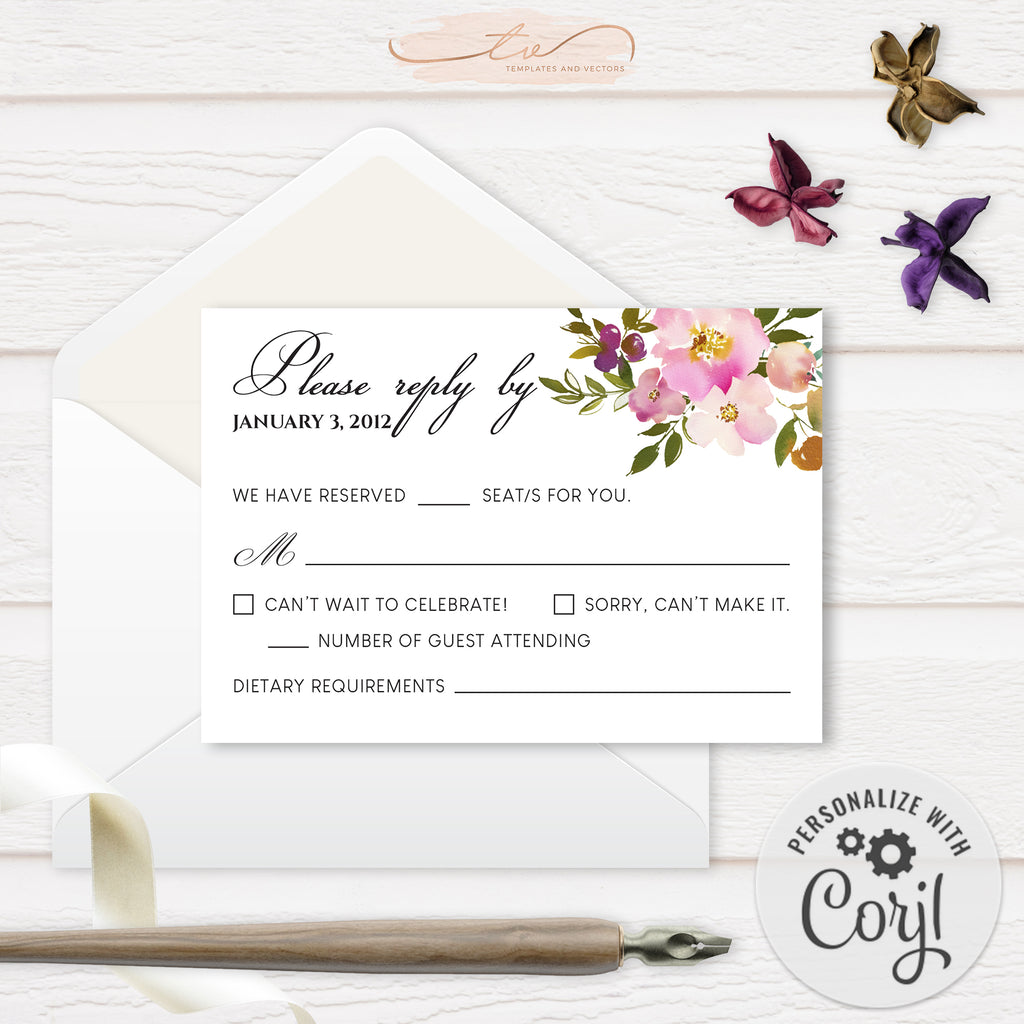 TVW199 Spring Lush Floral Wedding RSVP (Edit Yourself at Corjl)