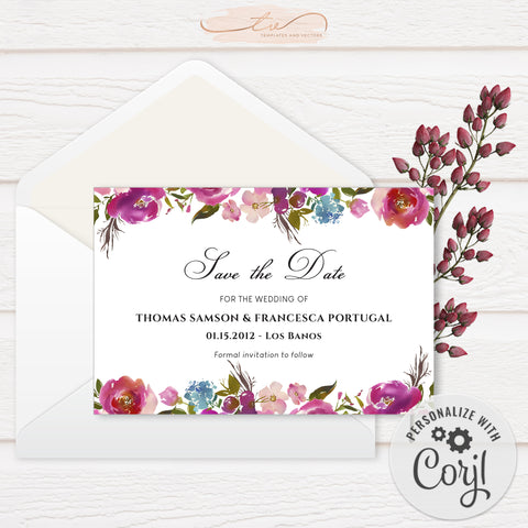 TVW199 Spring Lush Floral Wedding Save-the-Date (Edit Yourself at Corjl)