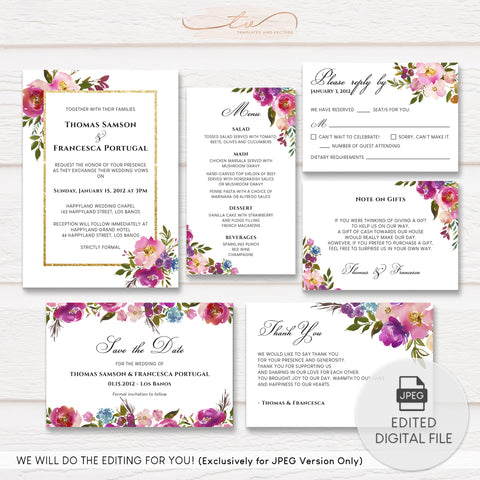 TVW199 Spring Lush Floral Wedding Suite Template