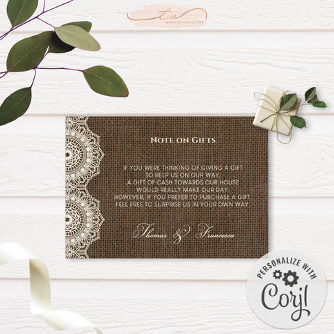 TVW201 Filipiniana Lace on Burlap Wedding Gift Request (Edit Yourself at Corjl)