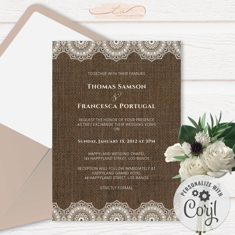 TVW201 Filipiniana Lace on Burlap Wedding Invitation (Edit Yourself at Corjl)