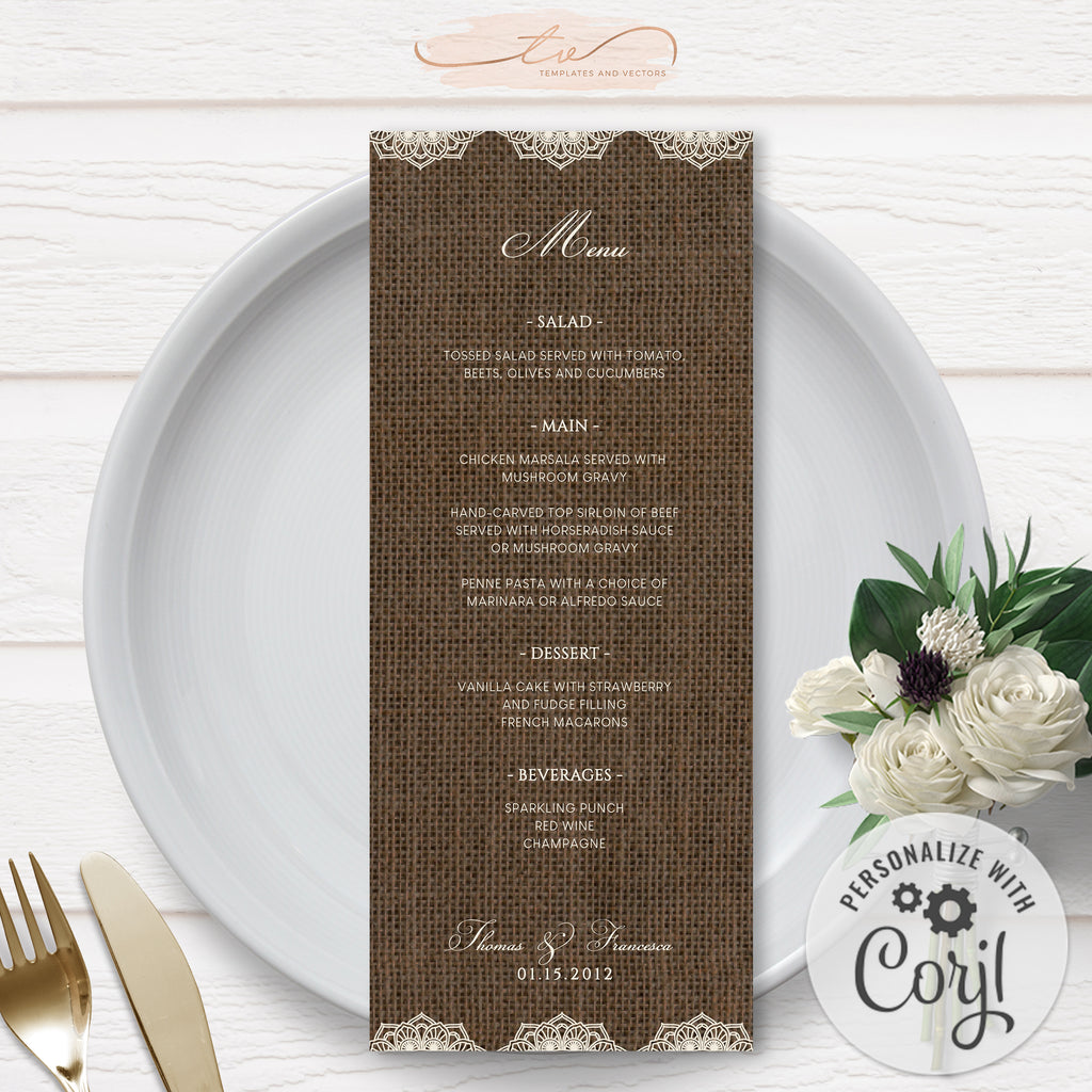 TVW201 Filipiniana Lace on Burlap Wedding Menu (Edit Yourself at Corjl)
